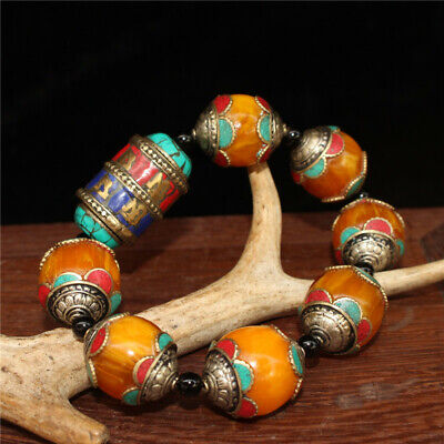 """5.12"""" Chinese Exquisite Turquoise Beeswax Handmade beads Bracelet a502"""