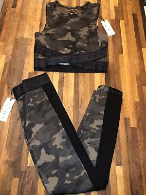 River Island Active Dance Gym Girls Leggings & Top Outfit Set Age 9-10 BNWT