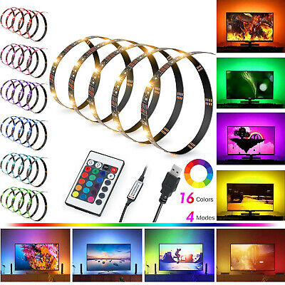 USB 1M-5M Light RGB Color 5050 LED Strip Lights TV Backlight + Remote Control