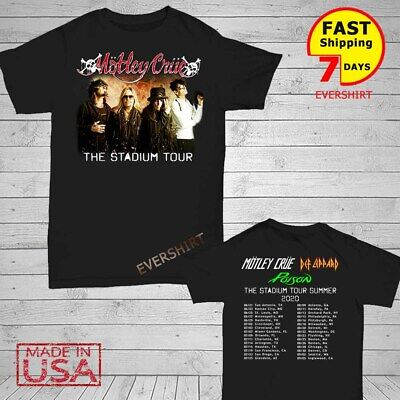 Motley Crue t Shirt The Stadium Tour 2020 T-Shirt Size Men Black M-2XL