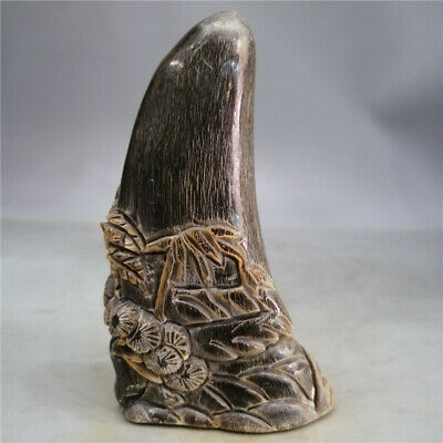 "4.13""  Collection Chinese Exquisite Ox horn Hand-carved pine tree Ox horn statue"