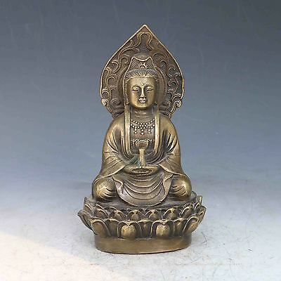 Chinese Bronze Hand painted Face Carved Kwan-yin Statues Qing Dynasty Mark a589