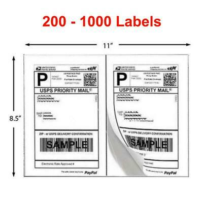 200-1000 Shipping Labels 8.5x5.5 Half Sheets Blank 2 Label / Sheet Self Adhesive