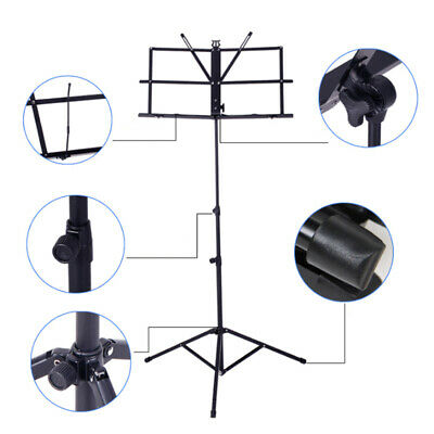 Height Adjustable Folding Music Orchestral Book Holder Tripod Stand w/ Carry Bag