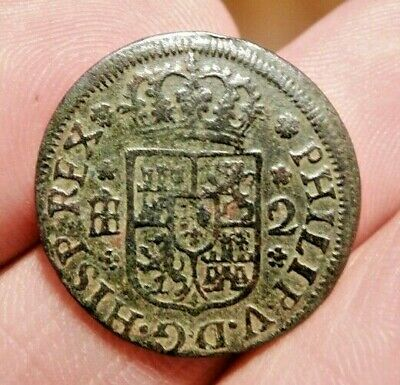 1744 Pirate Cobs Coin Old 2 Maravedis Felipe Philip V Colonial Treasure Times