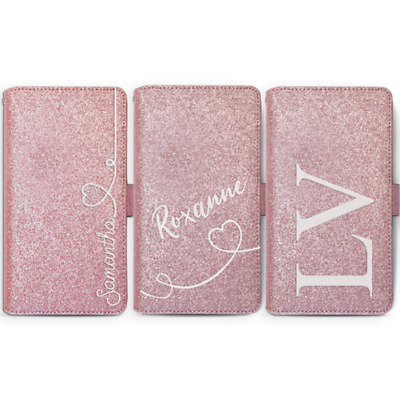 Personalised Initial Pink Glitter Phone Case Leather Cover For Samsung S9 J4