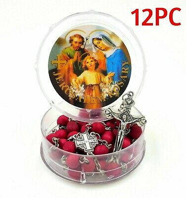 12pc Jerusalem Rosary Wood Holy Beads Necklace Catholic Blessed Crucifix Land