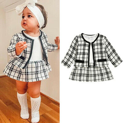 Toddler Baby Girls Winter Clothes Plaid Coat Tops+Tutu Dress Formal Outfits NEW