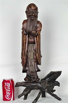 Rare Large (51cm) Antique Chinese Hand-Carved Root Wood Figure
