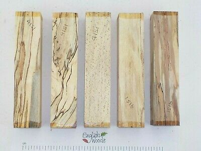5 Punky English Spalted Beech woodturning carving blanks. 43 x 43 x 200mm. 4151A