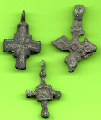 Lot 3 Ancient Viking Enamel Bronze Cross Kiev Russia Ukraine 1100 Byzantine 38