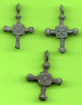 Lot 3 Ancient Viking Enamel Bronze Cross Kiev Russia Ukraine 1100 Byzantine 75