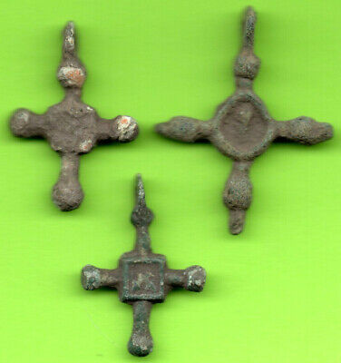 Lot 3 Ancient Viking Enamel Bronze Cross Kiev Russia Ukraine 1100 Byzantine 9