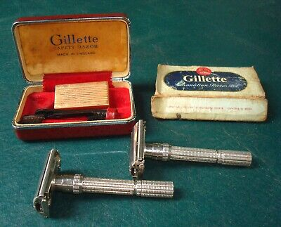 VINTAGE LOT 2 Gillette Adjustable K4 & L3 Safety Razor  W/ CASE 1960´S