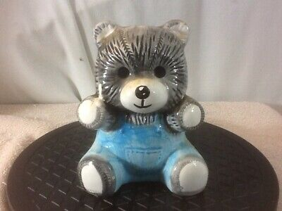 Vintage Collectible Cute Ceramic GRAY TEDDY BEAR in Blue Overalls Bank pre-owned