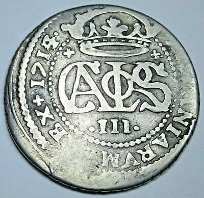 1714 Key Date Spanish Silver 2 Reales Real Two Bits Antique Colonial Pirate Coin