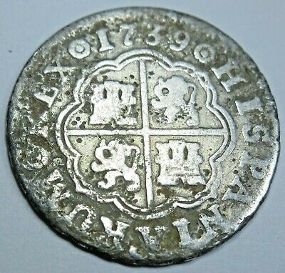 1739 Spanish Silver 1 Reales One Real Antique Colonial Era Pirate Treasure Coin