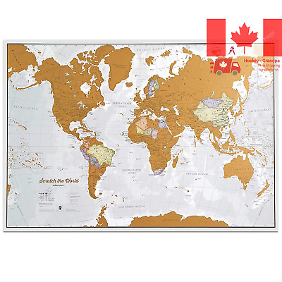 Scratch the World - scratch off places you travel map print - detailed cartog...