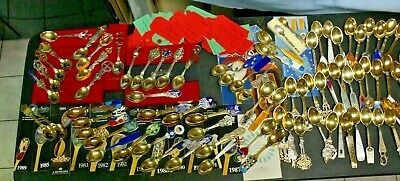 """LG LOT """"81"""" A. Michelsen CHRISTMAS spoons Gold Plated Sterling Silver W enamel"""
