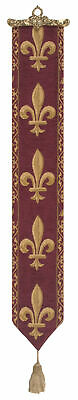 Fleur de Lys Red Belgian Medieval Woven Tapestry Bell Pull With Metal Topper