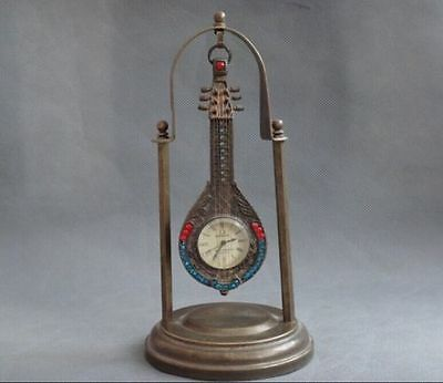 China collected bronze statue carved The pipa mechanical clocks and watches a685