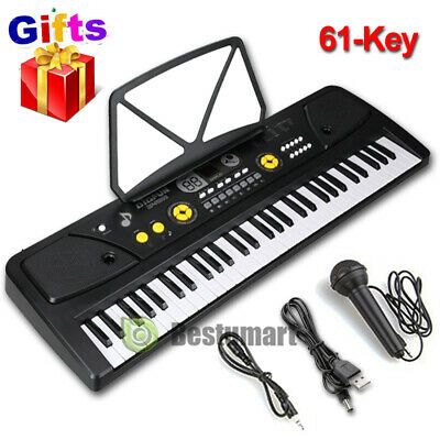 61 Key Music Electronic Keyboard Electric Digital Piano Organ with Stand & Mic