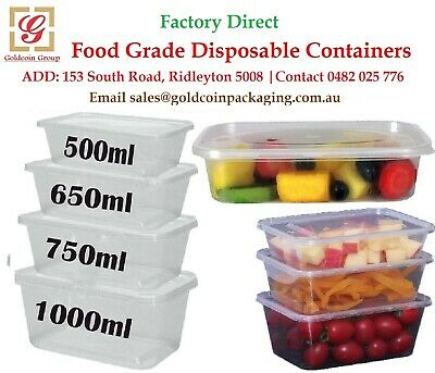 Take Away Food Containers Plastic Takeaway  Bulk 500ml 650ml 750ml 1000ml NEW
