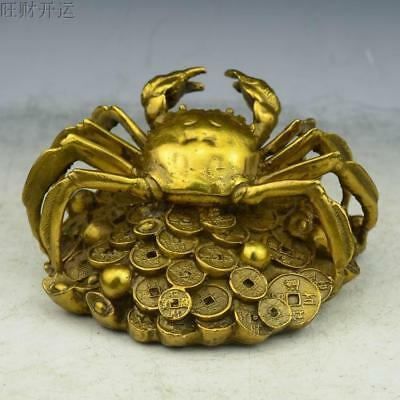 Antique china brass hand made fengshui lucky Crab coin ingot statue a802