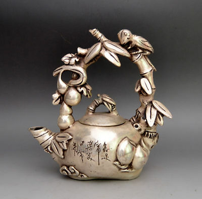 Exquisite Collectible Tibet Silver Carved Bird On Grape Tree TeaPot Statues RT a
