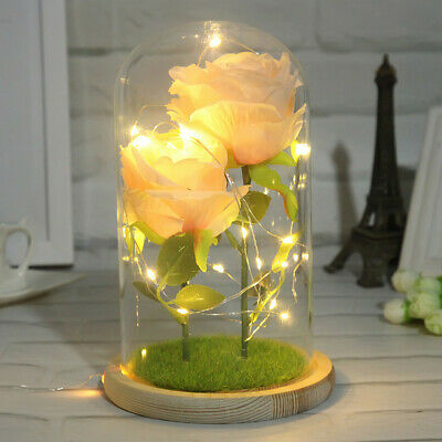 Beauty And The Beast Enchanted Pink Rose Glass Dome LED Lighted Wedding Decor
