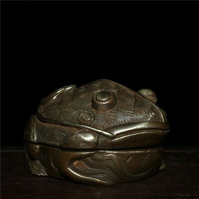 """3.54""""Exquisite Chinese copper Handmade carving Frog Ink cartridge ink box a862"""
