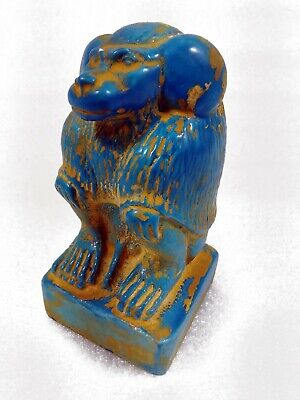 Rare Egyptian Antique Monkey Baboon Babi God Of Fertility Faience Statue Amulet