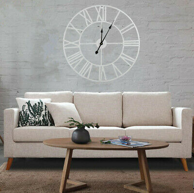 60Cm Extra Large Wall Clock Roman Numerals Open Face Round White Outdoor Indoor