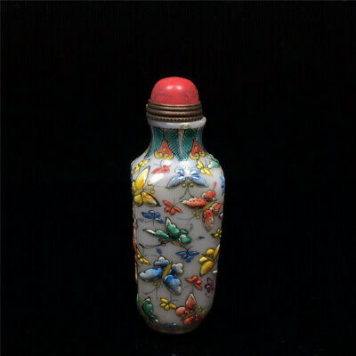 """3.19""""Exquisite Chinese Colored glaze Hand painted Butterfly pattern Snuff bottle"""