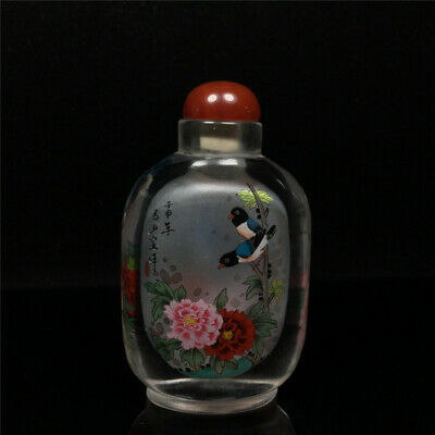 """3.66""""Exquisite Chinese Colored glaze Hand painted flower Snuff bottle a959"""