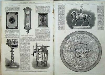 Antique Old Print Outram Shield Statuette Prince Wales 1862 Machine Clock 19th