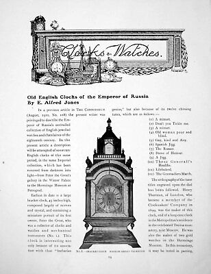 Original Old Antique Print English Clocks The Emperor RussiaPages 1916