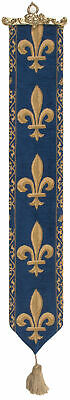 Fleur de Lys Blue Belgian Medieval Woven Tapestry Bell Pull With Metal Topper