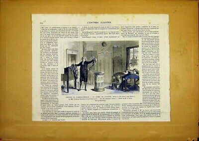 Original Old Antique Print Theatre Faverne Comic Beauvallet French 1868 19th