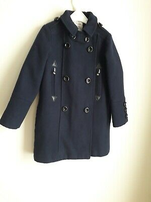 Girls Next Navy Blue Coat Age 7 Good       Clean Condition.