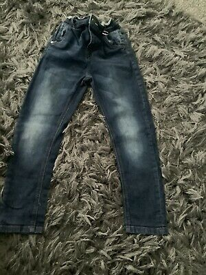 Boys Next Carrot Fit Blue Stretch Jeans Age 8 Years Adjustable Waist