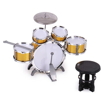 Kids Drum Set Toy 5 Drums with Small Cymbal Stool Drum Stick Musical Gift T8T7