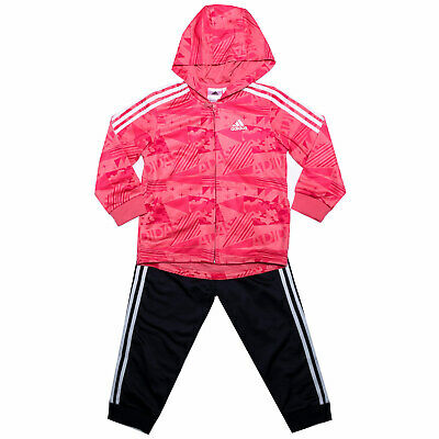 Baby Girls adidas Shiny Hoody Tracksuit In Pink- Jacket:- Zip Fastening-