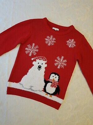 Red Christmas Jumper Penguin & Polar Bear Motif From Debenhams Age 9-10 Years