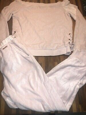 River Island Girls Pink Velour Lounge Suit Tracksuit Age 9-10 Excellent Cond