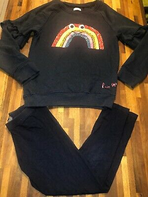 Next girls Rainbow Jumper And Leggings Set Outfit Age 9 Excellent Condition