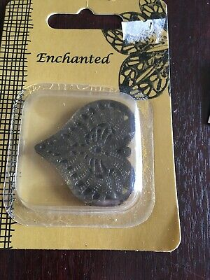 Craft Time 4 Vintage Brass Heart Embellishments  Card Making Scrapbooking New