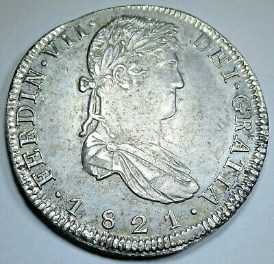 1821 RG Zs AU Spanish 8 Reales Zacatecas Silver Eight Real Colonial Dollar Coin