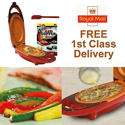 Red 5 Minute Chef Electric Cooker Pan Non-stick Omelette Egg Bread Maker