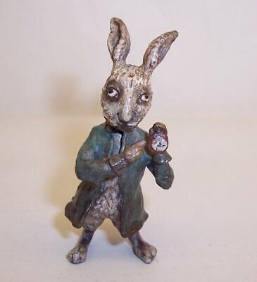 Vintage COLD PAINTED BRONZE Miniature WHITE RABBIT Alice in Wonderland AUSTRIAN